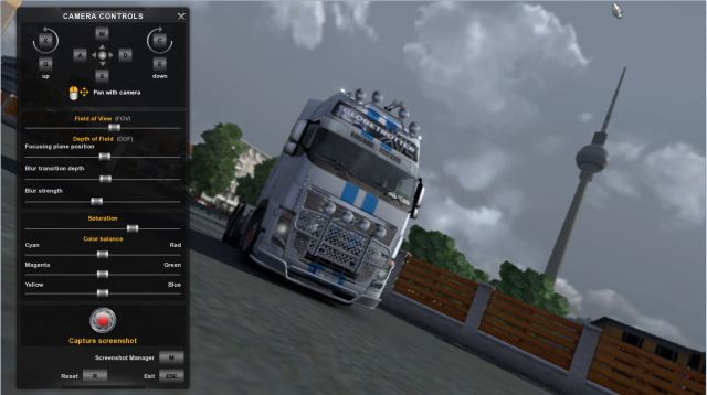 The photo mode interface in ETS2.