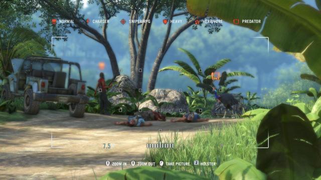 Far Cry® 3 photo-mode marking a villain and an ostrich